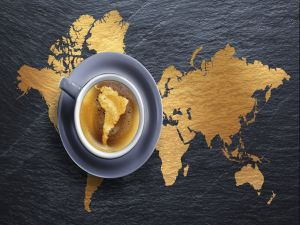 Map of South America in a coffee cup