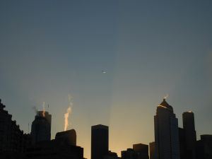 A plane in the city sky