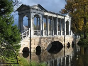 Marble bridge in Catalina Park, town of Pushkin
