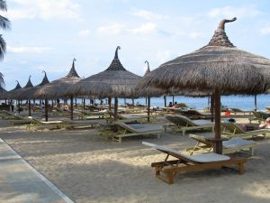 Beach umbrellas and sunloungers on the beach