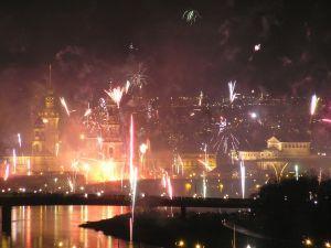Fireworks around the city