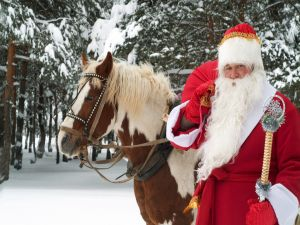 Santa Claus with a horse
