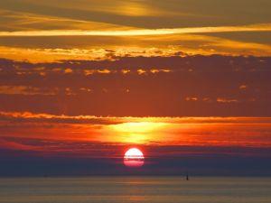 The sun is hidden in the sea