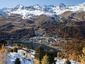 St. Moritz and snowy mountains (Switzerland)