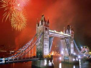 Fireworks and the Tower Bridge (London)