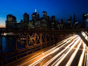 Cars lights on highway