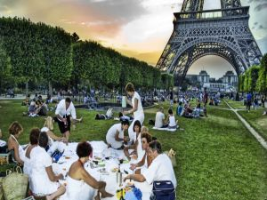 Picnic in the park Champ de Mars, next to the Eiffel Tower