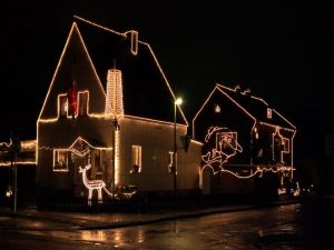 Houses with Christmas lights