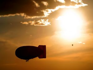 Balloon and zeppelin in the sky