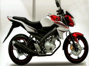 Yamaha motorbike white, black and red