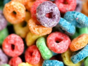 Colorful cereals for breakfast