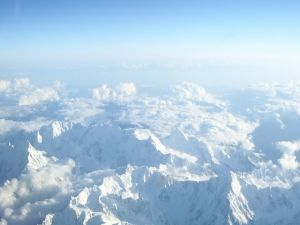White mountains seen from the sky