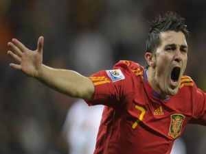 David Villa in the shirt of the Spanish National Football Team