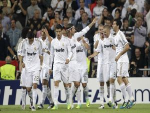Players of Real Madrid celebrating the goal