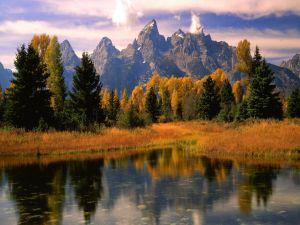 Autumn near mountains