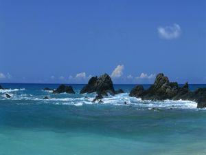Big rocks in the blue sea