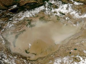Dust storm in the Taklimakan Desert