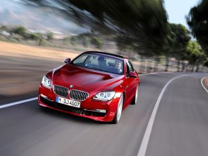 Red BMW on the road