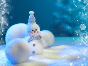 Snowman and white balls