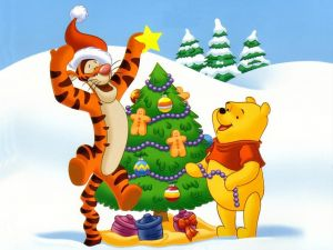 Tiger and Winnie-The-Pooh decorating the Christmas tree