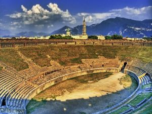 Amphitheatre of Pompeii at sunset
