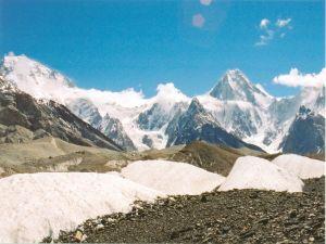 Broad Peak (left) and Gasherbrum IV from Baltoro Glacier