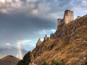 The rainbow and a ruined castle