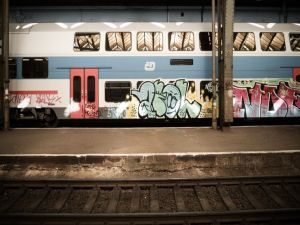 Train car painted with graffiti