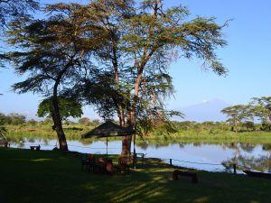 Mount Kilimanjaro seen from Lake Sante