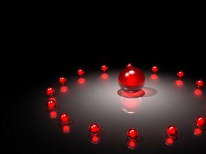 Red balls forming a circle