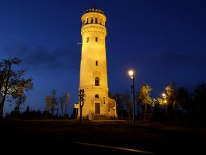 Lone tower at night