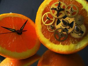 Orange converted in clock