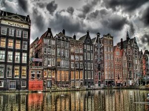 Houses on a canal of Amsterdam