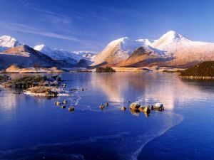 Mountains, lake and snow