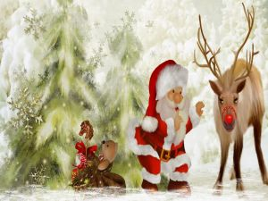 Santa Claus and his little friends