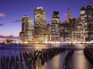 Illuminated skyscrapers in the city