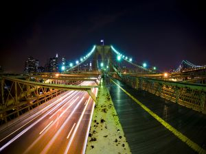 Road on the Brooklyn bridge