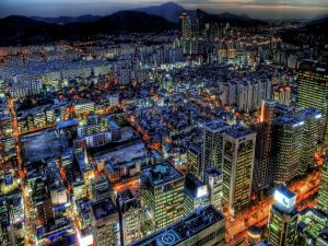 Illuminated skyscrapers at night city