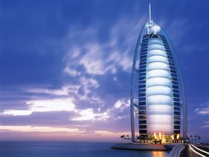 The Burj Al Arab hotel next to the sea