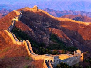 Mountains and the Great Wall of China