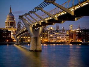 The River Thames, the Millennium Bridge and the St Paul's Cathedral in the City of London