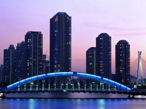 Bridge with blue light