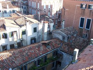 Roofs and windows of old houses
