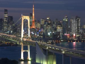 Night view of the city and Tokyo Tower
