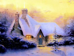 Illuminated house covered with snow