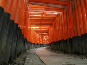 Path of torii at the shrine Fushimi Inari-taisha, Japan