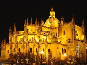 Night view of the Cathedral of Segovia (Spain)