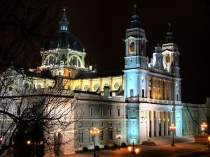 Night view of the Almudena Cathedral, in Madrid, Spain
