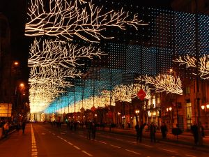Christmas lights on a street in Madrid (Spain)
