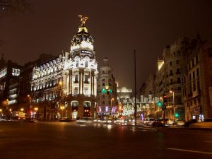 Night view of Calle de Alcala in Madrid (Spain)